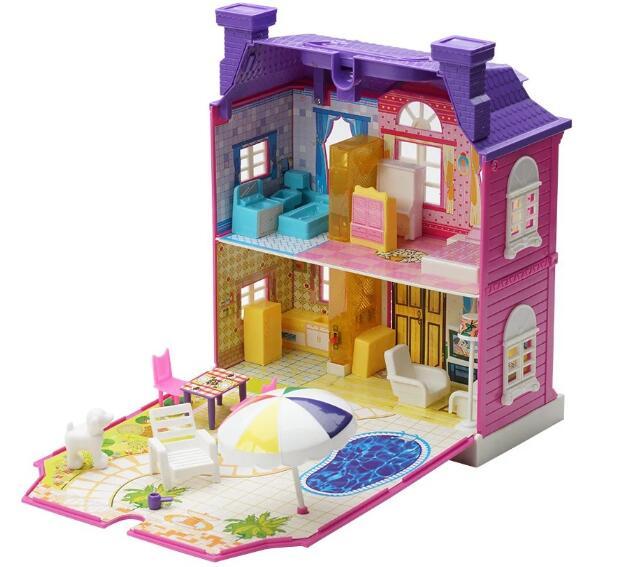 Maison de poupée bricolage variété créative bloc de construction Villa meubles Miniature maison de poupée 3D en plastique avec meubles pour enfants jouet