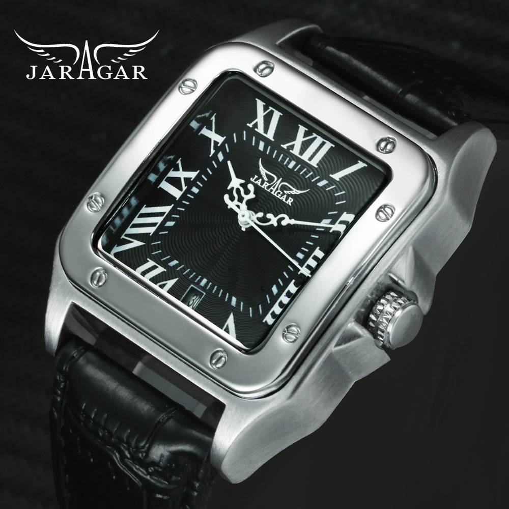 JARAGAR Fashion Dress Automatic Mechanical Watch Men Black Leather Strap Roman Numerals Calendar Dial Classic Wristwatch Man
