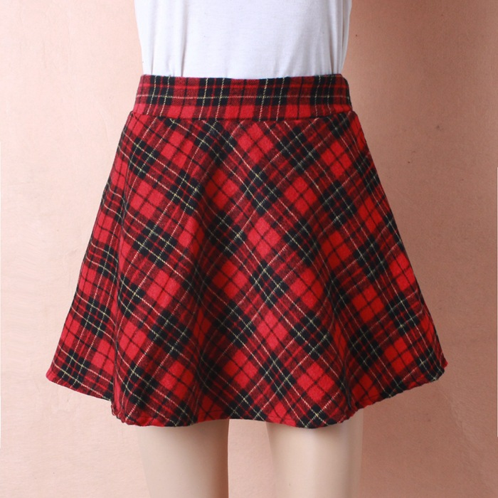 e0b6163ee46 Womens New Tartan Check Printed Ladies Stretch Fit Flared Skater Skirt Plus  Size-in Skirts from Women s Clothing on Aliexpress.com