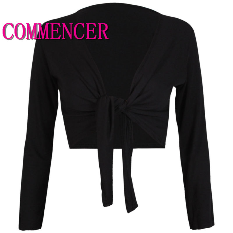 commencer Belly Dance Costume Latin Dance Costume Womens Long Sleeve Tie Up Crop Shrug Ladies Plain