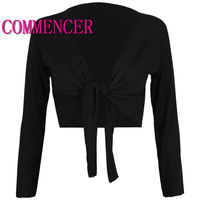 commencer Belly Dance Costume Latin Dance Costume Womens Long Sleeve Tie Up Crop Shrug Ladies Plain BOLERO Cardigan Top 0027