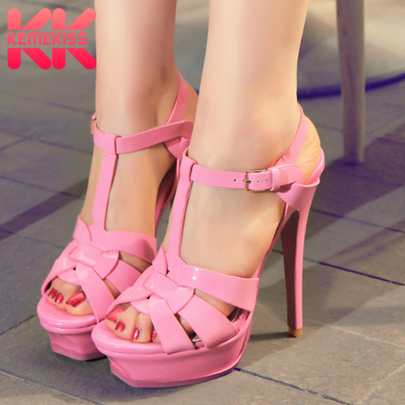 KemeKiss free shipping quality genuine leather high heel sandals women sexy footwear fashion lady shoes R4425