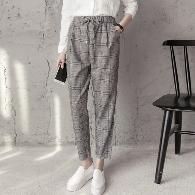 New Women's England Style Pants Casual Plaid Elastic Waist Fashion Ankle Length Pants Female Regular Trousers