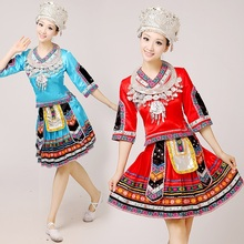 Miao ropa de danza desgaste del funcionamiento del traje de las mujeres traje tradicional chino hmong ropas Con Sombrero