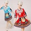 Miao roupas de dança traje desgaste desempenho traje tradicional chinês das mulheres hmong roupas Com Chapéu