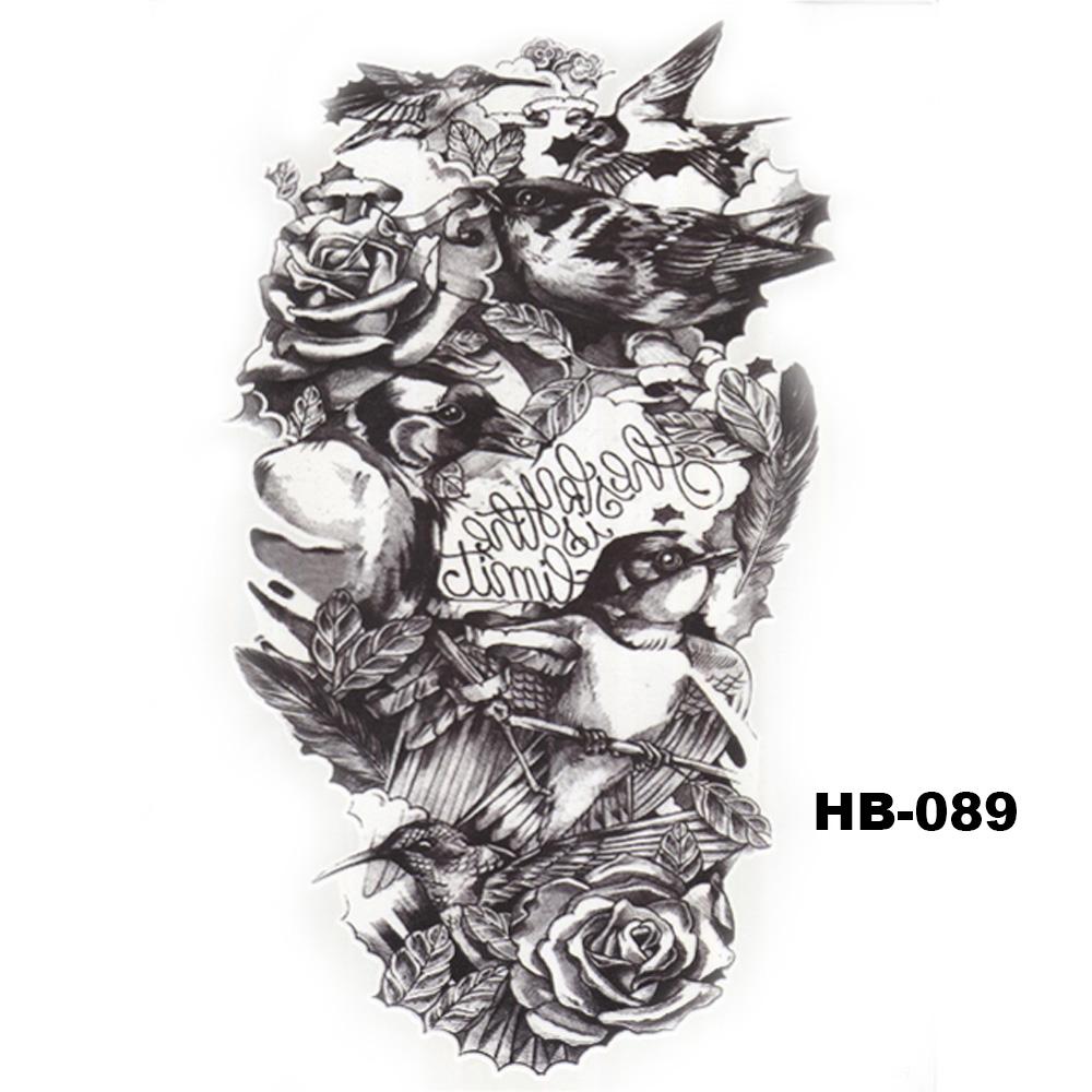 8e2e1f306be13 ... 5 Pcs Hot Black Fish Totem Temporary Tattoo Stickers Waterproof Body  Art Big Fake Shoulder Tattoo ...