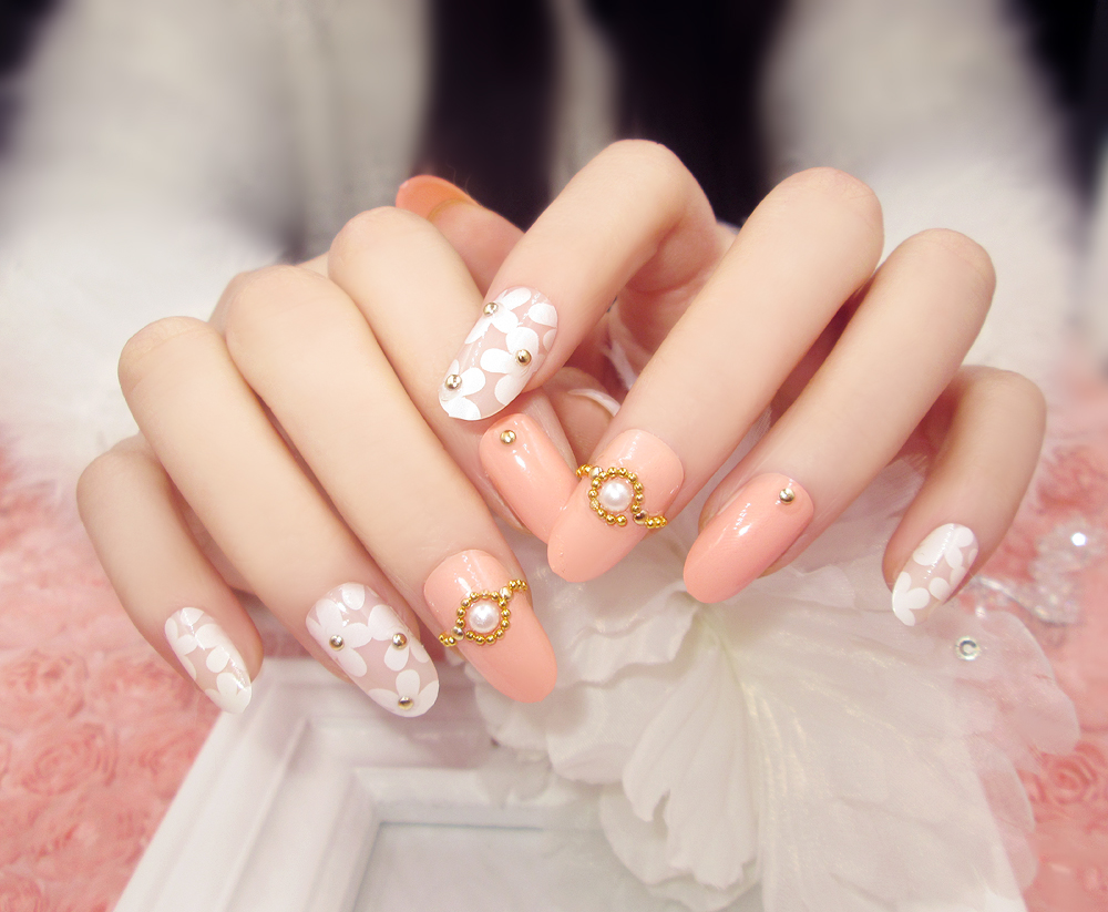 24pcs long for Round Head with Glitter Finished Nail Tips sticker ...