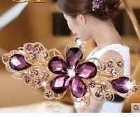 Envío gratis! 2015 hot saleHair accesorios horquilla flor del tocado de cristal del diamante cabeza tocado horquilla flor del tocado