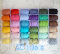 Free shipping 1 set mix 36 Wool Fibre Roving For Needle Felting Hand Spinning DIY wool felt Gift boxes Storage box