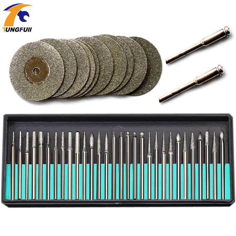 цена на 42pcs Dremel Accessories Rotary Tools 30pcs Diamond Burs 12pcs Diamond Saw Blades Mini Cutting Discs Drill Bits For Dremel Tool
