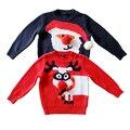 O envio gratuito de 2017 de inverno do bebê meninos das crianças de ano novo de algodão bola de lã conjunto espessamento Camisola Do Natal