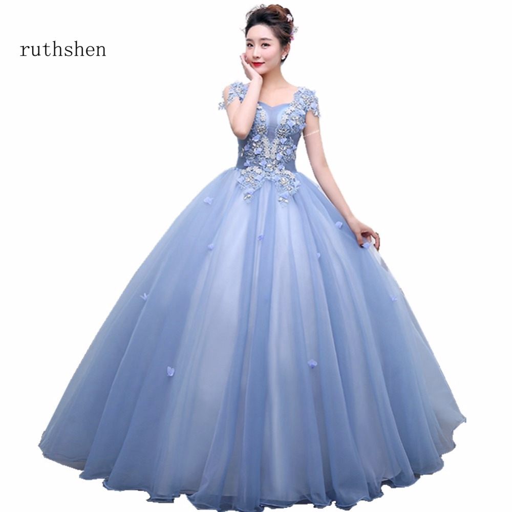 ruthshen Robe De Soiree Real Photo   Evening     Dress   Long Short Cap Sleeves Tulle Women Formal Prom   Dresses   Cheap Vestido Longo 2018