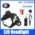 Headlamp Brightness CREE XM-L T6 LED Headlight 2000LM Adjustable Focus Hunting Light 3 mode+2*18650 Battery+DC/Car Charger