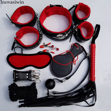 Bondage with Fetish Woman Sex Toys for Couples PU Leather Handcuffs Eye Mask Mouth Gag Erotic Toys Adult Games Sex toys Set bondage sex toys headgear with mouth ball gag bdsm erotic leather sex hood for men adult games sex sm mask for couples ma30