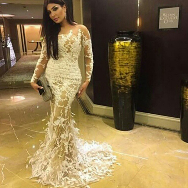 cc0c6d4766ee6 Sexy Sheer Long Lace Evening Dress Mermaid Tail Long Sleeves Evening Gown  With Feathers A280