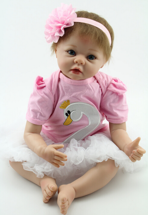 Silicone Reborn Baby Doll Vinyl Lifelike Lovery Princess Girl Brinquedos Play House Interesting & Education Sleep With Doll Toys 50cm silicone reborn baby doll toy soft vinyl lifelike girl brinquedos gift for children interesting