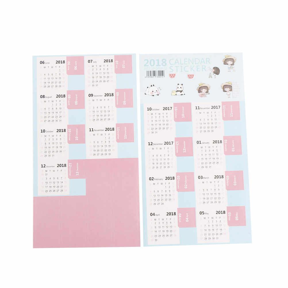 New 2018 Calendar Sticker Notebook Index Monthly Category Sticker Planner Accessories Slip Sheet