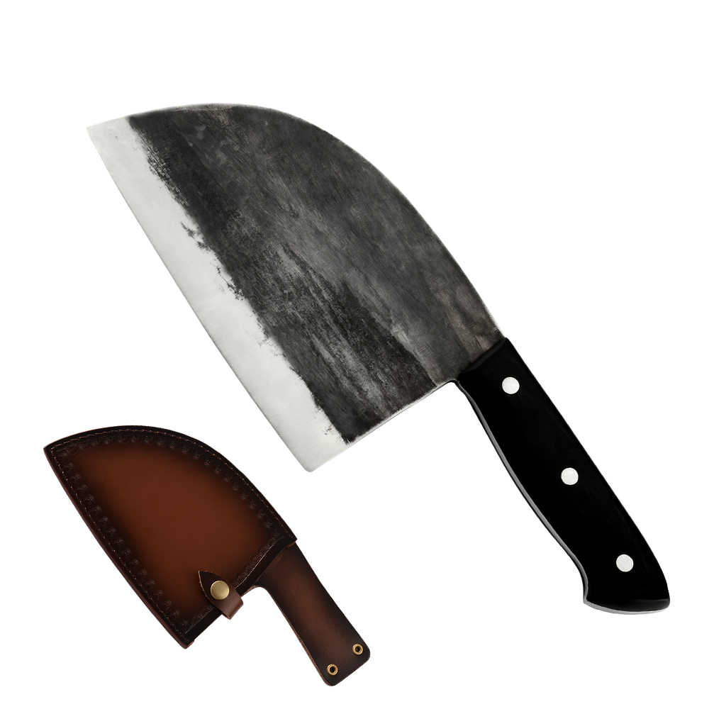 SOWOLL Handmade Forged Butcher Chef Knives with Knife Sheath High Carbon Clad Steel Chinese Kitchen Knives With Full Tang Handle