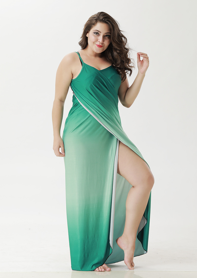 93eed1015b1aa ... IASKY Plus size Cover Up Robe Plage Gradient color Beach Long Dress  Pareos Women Tunic Sarong ...