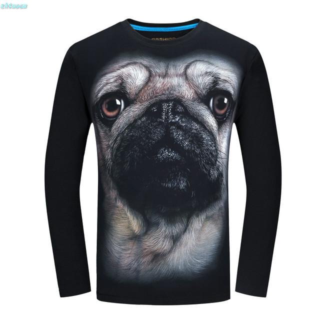 Caliente Primavera Infantil Chicos Camisetas de Algodón de Manga Larga Camiseta de Los Hombres 3d Animal Camisetas 4XL 5XL 6XL Más Tamaño T-shirt Camiseta Del Perro