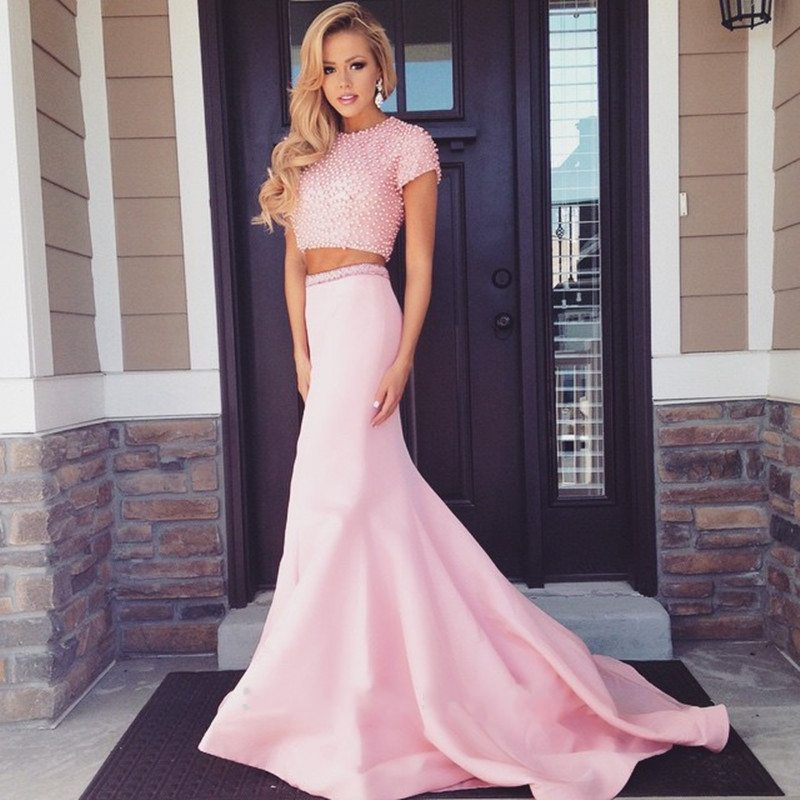 5464e09817 Pearls Two Pieces A-line Prom Dresses 2017 New Evening Dress cute 8th grade  graduation dresses Short Sleeves Long Party Dress