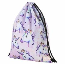 Fedex 50 pieces 3D Printing Unicorn animal horse  corn Pattern Drawstring Bag Backpack schoolbag travel bag