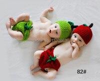 Nuevo Soft Nuevo newbosrn Cosplay Bebé Fotografía Proposición Zanahoria Gemelos sombrero Lindo Bebé Niña y Niño de Punto de Ganchillo DEG