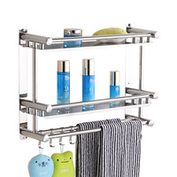 1/2/3 layer stainless steel bathroom shelf bathroom rack shampoo holder shelf hanging multi funtional silver towel holder SEH