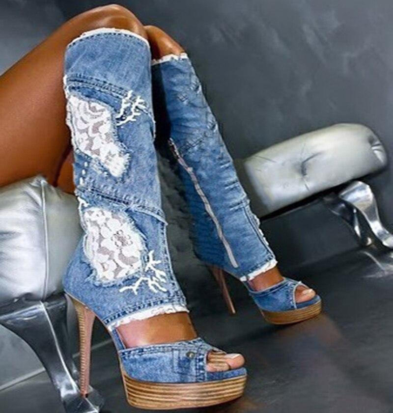 Popular Womens Denim Cowboy Boots-Buy Cheap Womens Denim Cowboy ...