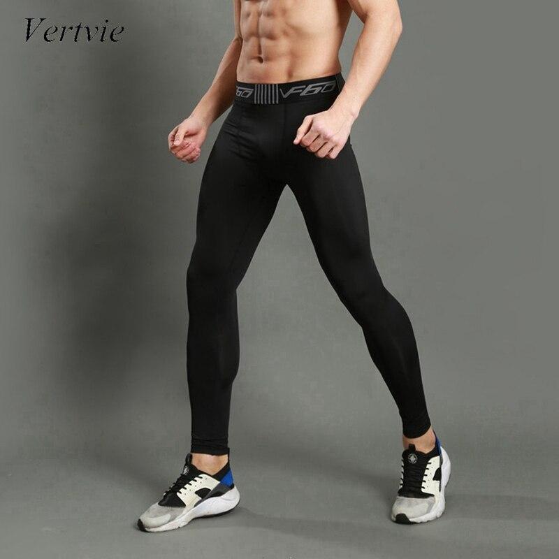 Vertvie Колготки 2017 Для мужчин Спортивные Леггинсы Спортивная пот Jogger Брюки Pro узкие сжатия тренажерный зал Фитнес спортивных брюк