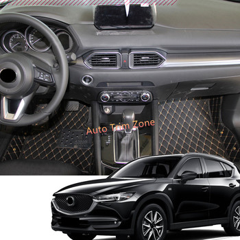 A Set Leather Interior Black Floor Mats & Carpets For Mazda CX-3 CX3 2015-2018