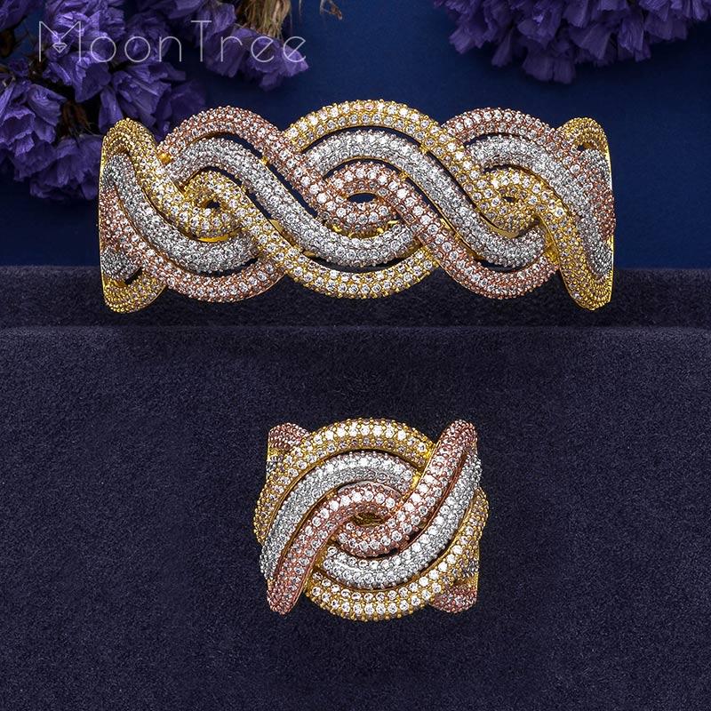 MoonTree Luxury Rhinestones Twist Shape Flower AAA Cubic Zircon Wide Bangle Ring Set 3Tone Color Plated
