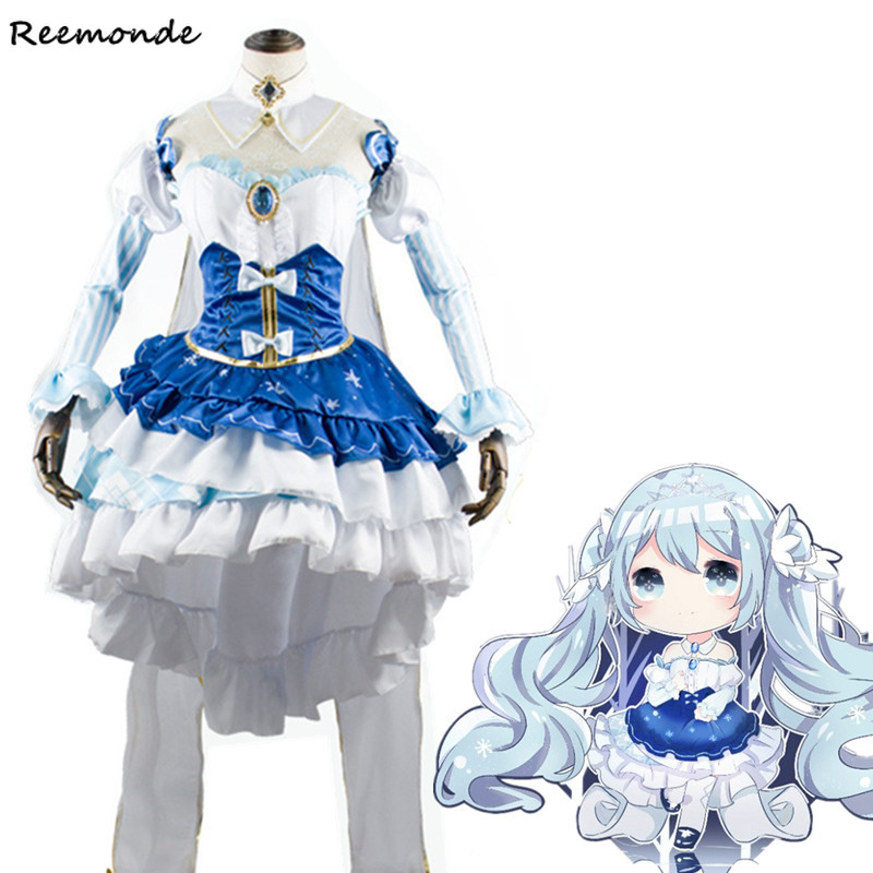 Anime Hatsune Miku Cosplay Costume Blue Princess Dress Uniform Carnival Outfit Full Set Synthetic Wigs Hair Women Girl Clothes