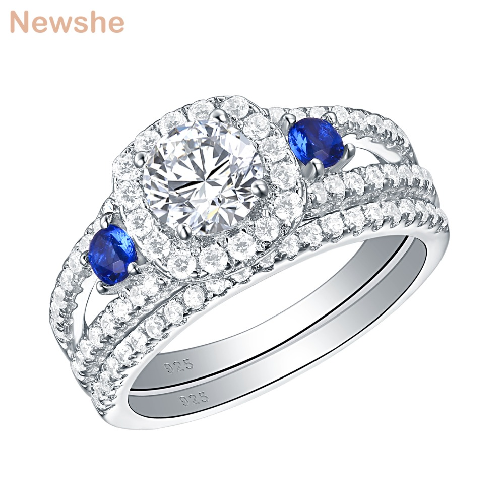 Newshe 925 Sterling Silver Wedding Rings For Women Classic Jewelry Round Cut Blue Side AAA Zirconia Engagement Ring Bridal SetNewshe 925 Sterling Silver Wedding Rings For Women Classic Jewelry Round Cut Blue Side AAA Zirconia Engagement Ring Bridal Set