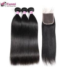Funmi малазийские прямые волосы человеческие волосы пучки с закрытием 3 Связки с завязкой натуральные волосы пучки с закрытием 4X4 дюйма