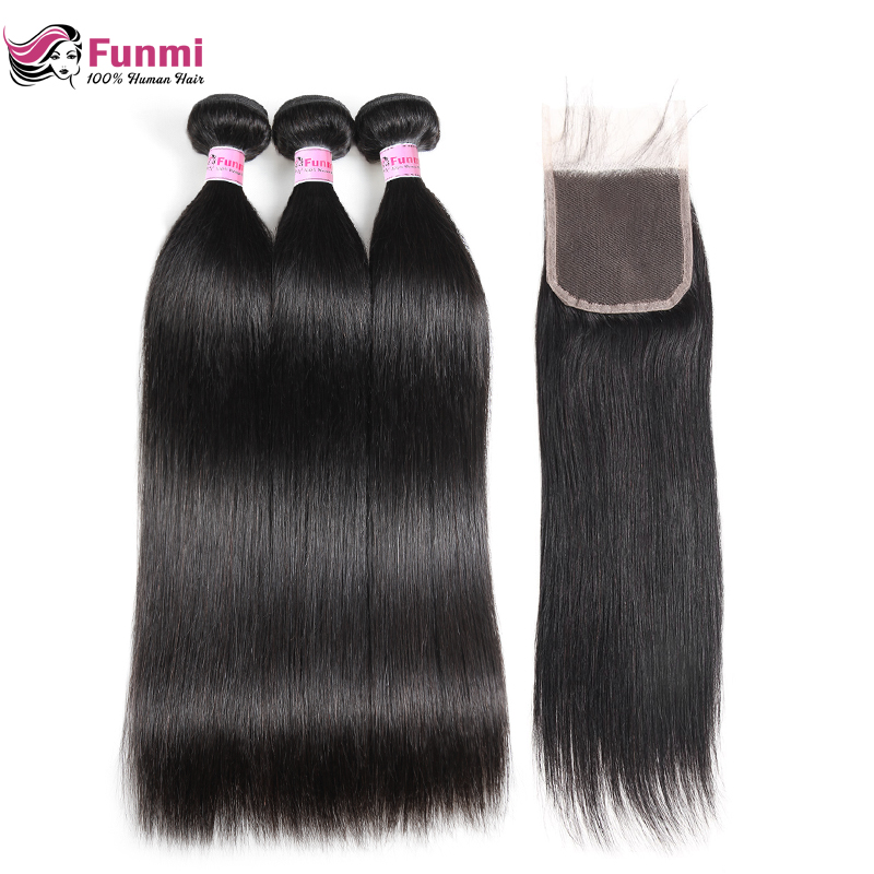 Funmi Malaysian Straight Hair Human Hair Bundles With Closure 3 Bundles With Closure Virgin Hair Bundles With Closure 4X4 Inch