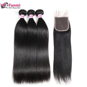 Funmi Human-Hair-Bundles Closure Virgin-Hair Malaysian Straight with 4x4-Inch