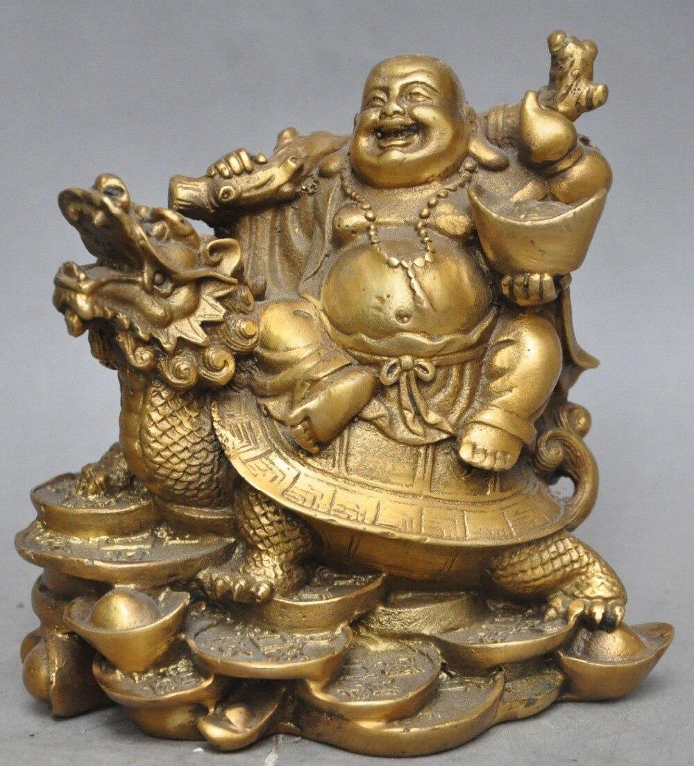 TNUKK chinois laiton richesse argent pièce lingot Maitreya bouddha dragon tortue statue métal artisanat-0023