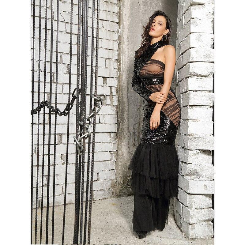 Robe Seule Célébrité Moulante Devrait Printemps Partie Halinfer Noir Paillettes Maille Tricot Femmes Nouveau Sexy Robes 2019 IHpx0C