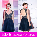 Emma Watson Dress Navy Blue Tulle Short Puffy Open Back Prom Dress Beaded Backless Celebrity Cocktail Party Gown