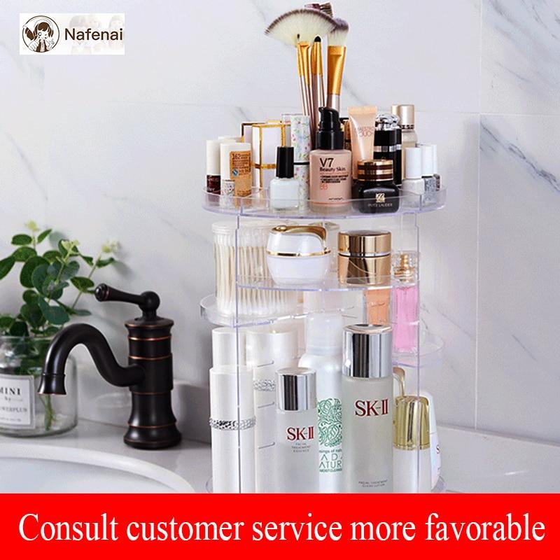 360 rotating makeup organizer Acrylic brushes holder box Jewelry Organizer Case storage cosmetics