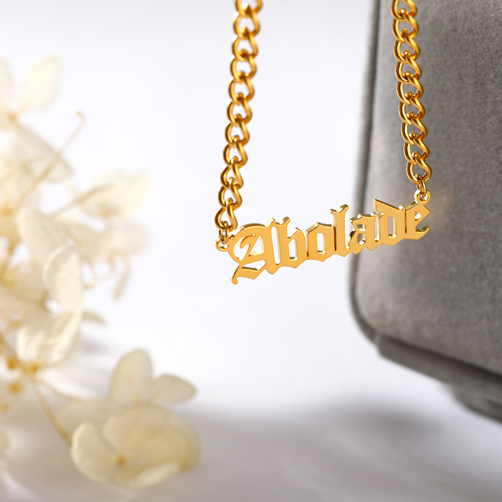 Curb Chain Stainless Steel Personalized Old English Name Necklaces Pendants For Women Jewelry Custom Gold Color Choker BFF GiftsCurb Chain Stainless Steel Personalized Old English Name Necklaces Pendants For Women Jewelry Custom Gold Color Choker BFF Gifts