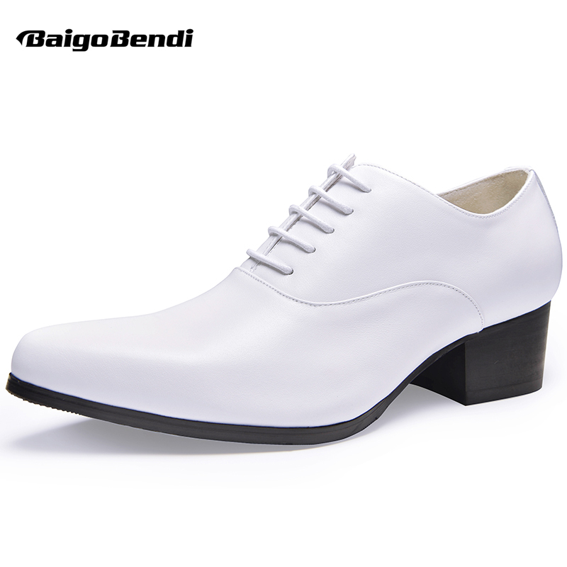 Mens Real Leather Lace Up Height Increasing Shoes Pointed Toe High Heel Shoes Casual Oxfords Man Heighten Wedding Shoes hight end full grain leather men lace up high heel shoes man thick heel black formal dress height increasing heighten shoes