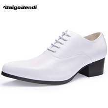 цена на Mens Real Leather Lace Up Height Increasing Shoes Pointed Toe High Heel Shoes Casual Oxfords Man Heighten Wedding Shoes