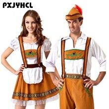 Hombre Oktoberfest de Alemania disfraces Fantasia mujeres cerveza bávara Featival Cospaly vestido adulto pareja fiesta Maid Cloths de talla grande