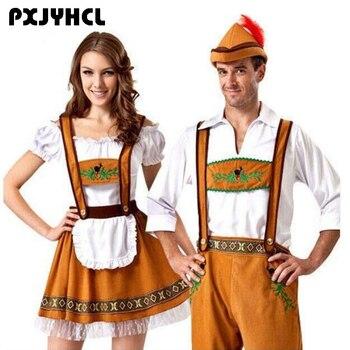 Uomo Germania Oktoberfest Costumi di Fantasia Delle Donne Bavarese della Birra Featival Cospaly Vestito Coppia di Adulti Del Partito di Pulizia Panni Più Il Formato