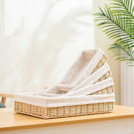 Caixa de armazenamento de cosméticos de armazenamento de estilo Japonês quadrado imitação de vime cesta de armazenamento de desktop cesta grama chave controle remoto stora
