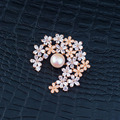 Clear AAA Cubic Zirconia Little Flower Clusters Brooches with White Freshwater Pearl