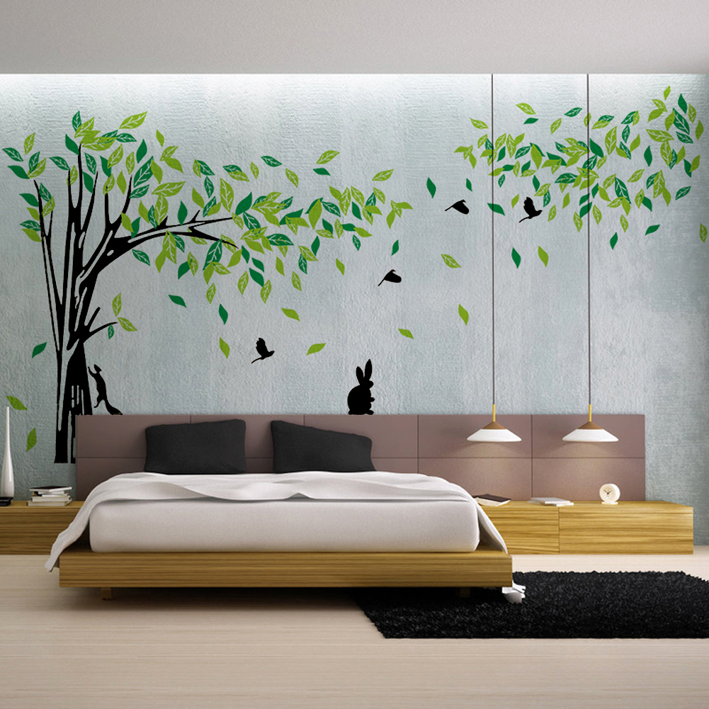 Green tree wall sticker large vinyl removable living room - Wall sticker ideas for living room ...