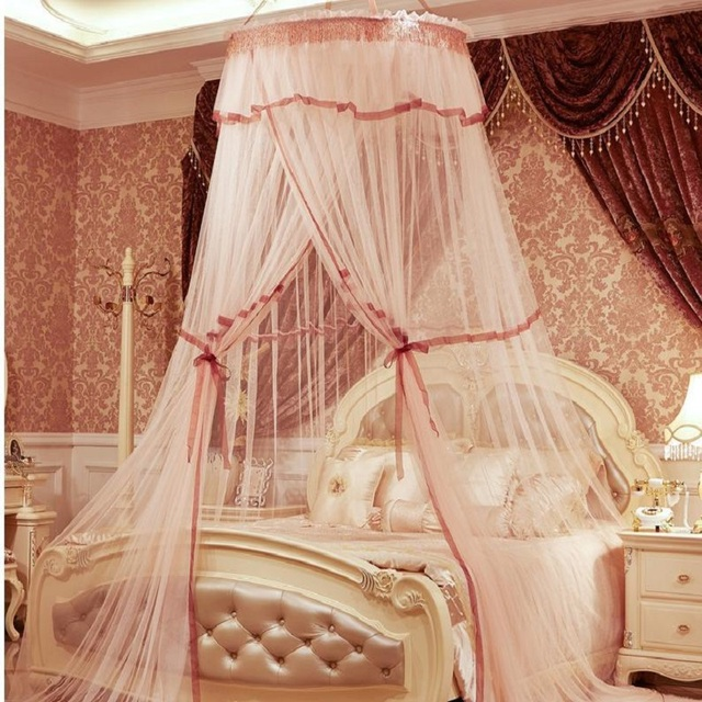 Princess Hung Dome Palace Mosquito Net Students Insect Double Bed Canopy Netting Lace Bedroom Circular Curtains & Princess Hung Dome Palace Mosquito Net Students Insect Double Bed ...